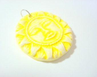 Faux Ceramic Bright Golden Yellow Sun Handmade Polymer Clay Pendant