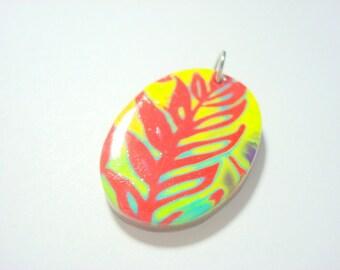Psychedelic Garden Handmade Mokume Gane Polymer Clay Pendant