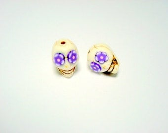 Ivory and Purple Flower Eyes in Day of The Dead Sugar Skull Beads-12mm