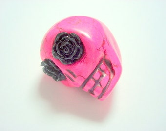 Gigantic Pink Howlite Skull Bead or Pendant  with Black Roses in Eyes