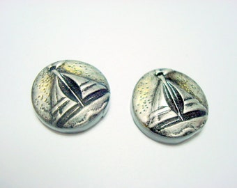 Silver and Black Sailboat Beads