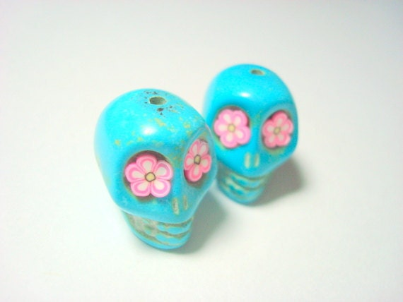 Pink Flower Eyes in Turquoise Howlite 18mm Day of the Dead Sugar Skull Beads