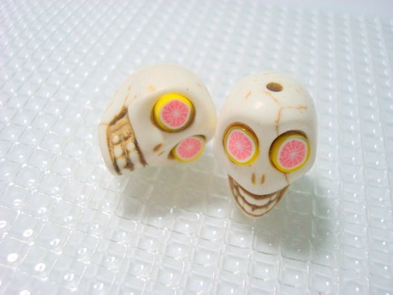 Pink Grapefruit Eyes in Ivory Howlite Day of the Dead 18mm Sugar Skull Beads