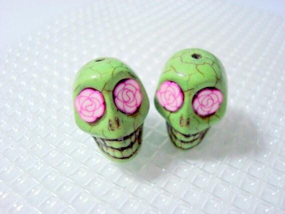 Rosy Eyes Green Howlite 18mm Sugar Skull Beads