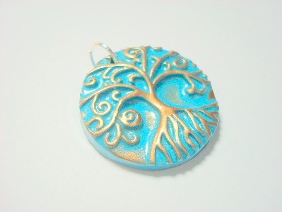 Turquoise and Bronze Yggdrasil Tree of Life With Roots Handmade Polymer Clay Pendant or Focal Bead