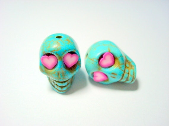 Turquoise Howlite 18mm Sugar Skull Beads with Pink Heart Eyes