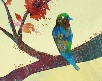 Bird Branch Art - Modern Bird Wall Art - The World Standing Still - Bird Art Print - Bird Wall Decor