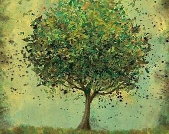 Green Tree Art - Welcome Change (rustic green) - 8x10 Illustration Print