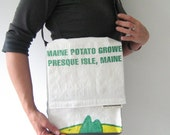 Recycled Maine Potato Sack Messenger Purse