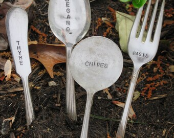Set of four Upcycled Herb Garden Markers - Made from vintage silverplate flatware and Hand stamped to order