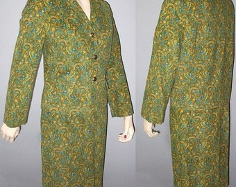 Vintage 60s Skirt Suit / Paisley Corduroy / Mad Men Style S