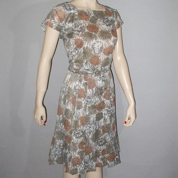 Vintage 50s Dress & Jacket / Copper and Sage Floral Print