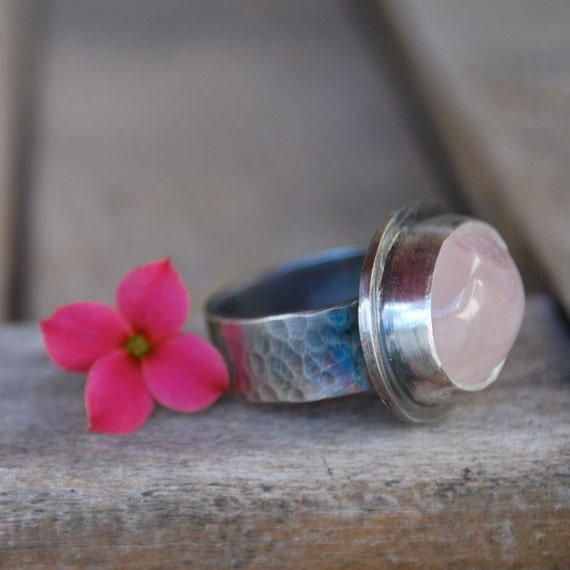 SALE Pretty in Pink Rose Quartz Ring handmade in Sterling Silver-Ready to Ship