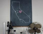 Chalkboard State Maps // State Map Decor // 50 states // California // Colorado // Connecticut // Delaware // Florida // Georgia // Hawaii