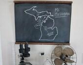 Chalkboard State Maps // Custom State Map Decor // 50 states // Maine // Maryland // Massachusetts // Michigan // Minnesota // Mississippi