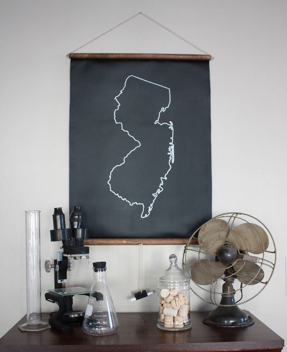 Chalkboard State Maps // Custom State Map Decor // 50 states // New Jersey // New Mexico // New York // North Carolina // North Dakota