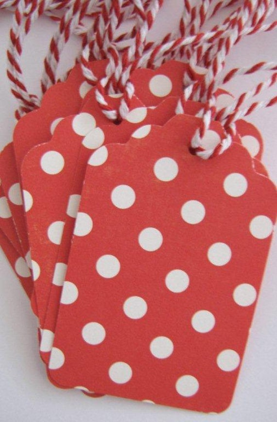 Red White Christmas Polkadot Gift Tags Large  Pack of 10