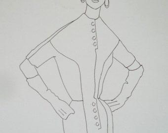 vintage clothes fashion plate original designer illustration 4