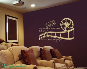 Welcome to Our Movie Room Sit Back Relax Enjoy Decal • Vinyl Lettering • Theatre Room • Wall Art Graphics Lettering Decals Stickers 1080