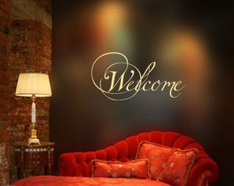 Welcome - Entry Decor - Home Decor - Large - Vinyl Lettering - Wall Decals - Quote Saying - Wall Words Lettering Decals Stickers 1093