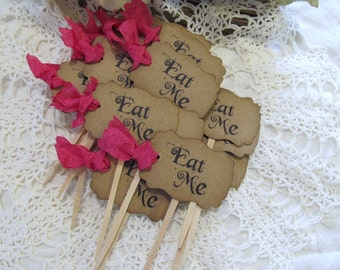 Alice Eat Me Kraft Brown Cupcake Toppers w/ribbons -Set of 18 - Choose Ribbon Color - Wedding Alice Bridal Shower Tea Party