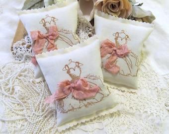 Princess Formal Dress Lavender Sachet Bridal Shower Party Favor - Set of Six - Choose Ribbon Color - Bridesmaid Gift