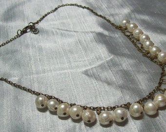 Cultured Freshwater pearl and Antique brass necklace
