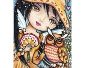 Brown Hat Fairy owl ACEO fantasy signed print ElaineCoxArt