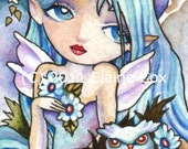 Blue Nocturne Fairy owl ACEO fantasy open edition signed print Elaine Cox
