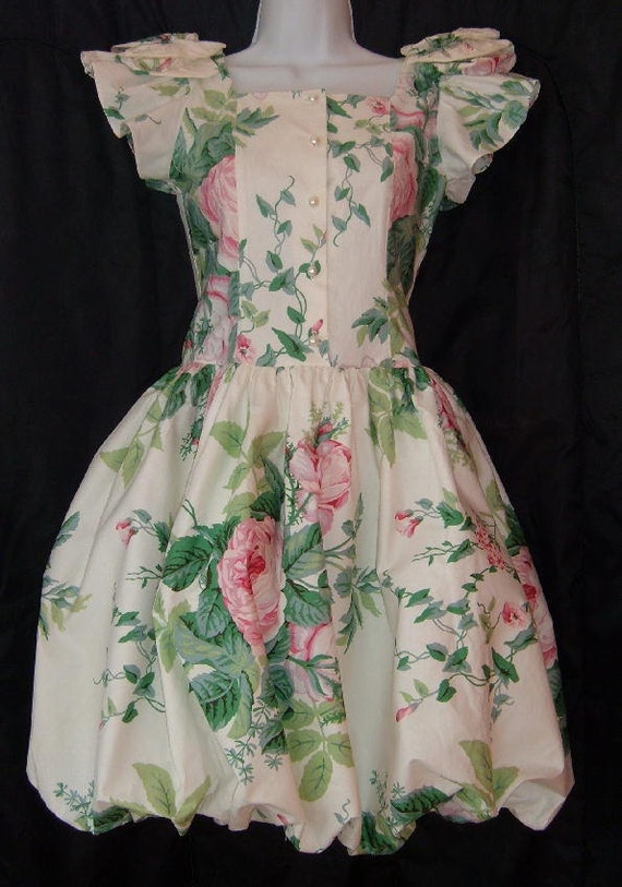 Vintage 80s Floral Chintz Bubble Pouf Skirt Prom Garden Party Dress S Pink Roses