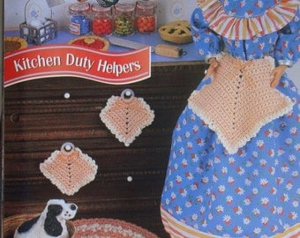Kitchen Duty Helpers Rug, Apron, Potholder Set Crochet Pattern Miniature Accessories for 11 1/2 inch Fashion Dolls like Barbie