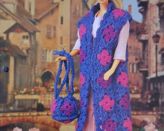 Travel Trio Long Vest, Beret Hat and Purse Crochet Pattern for 11 1/2 inch Fashion Dolls like Barbie