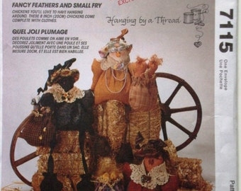 McCalls Crafts 7115 Chickens Pattern. Fancy Feathers and Small Fry. Hanging By a Thread. Uncut
