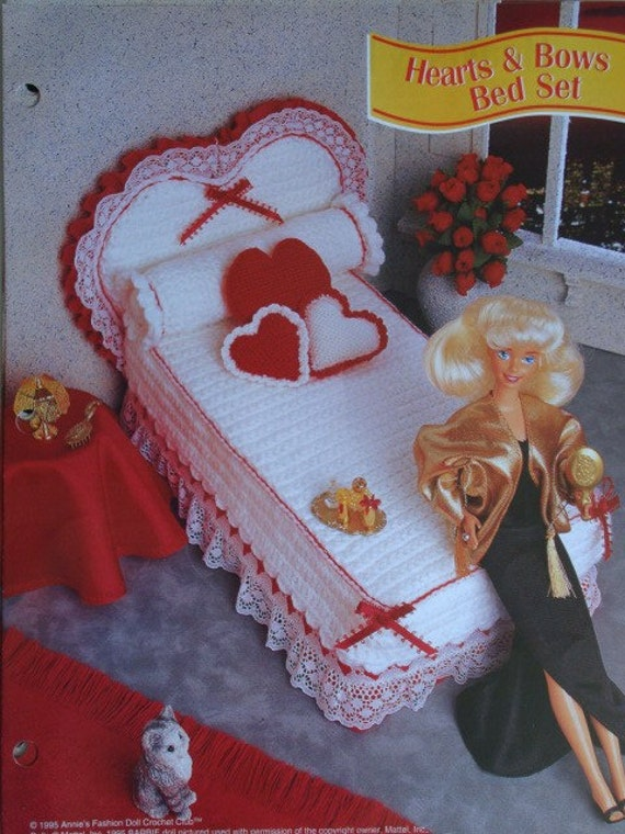 Hearts and Bows Bed Set Crochet Pattern for Headboard, Bed, Mattress, Coverlet, Bolster, and Heart Pillows
