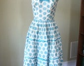 Vintage 50s Blue and White Polka Dot Party Dress
