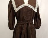 Vintage Blouse and Skirt Set, Size Small, Brown and Cream, Rockabilly, Peasant, Boho