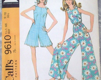 Vintage 60s Sewing Pattern, Young Junior/Teen Pantdress, McCalls 9610, Sleeveless Pant Dress, Culottes Jumpsuit Pattern, Summer Pattern 9-10