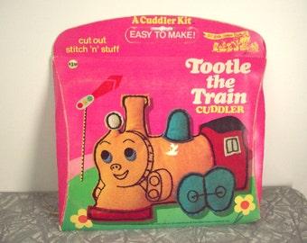 1970's Vintage Stitchery Kit, Little Golden Book Tootle The Train Cuddler Kit, Stuffed Train Toy, Naptime Pal, Nursery Decor, Stitch n Stuff