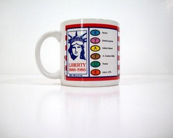 Vintage 80's Trivial Pursuit Cup/Mug, Commemorative Mug, Statue of Liberty, Collector's Item