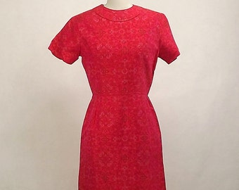 Vintage 60's Party Dress, A-line, Salmon, Scroll Work,  Size Small, Lined