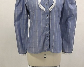 Vintage 70's Ladies Blouse, Kenny Rogers Western Collection, Blue and White, Rockabilly