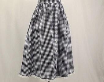 70's Blue and White Full A-line Skirt, Blue White Checkered, Prairie Skirt, Line Dance Skirt, Eyelet Trim, Button Down Front, Sz 14P,Elastic