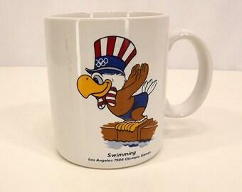 Vintage 80's Coffee Mug-Tea Mug-Olympics 1984 Olympic Games-Swim Team-American Eagle-Collectible