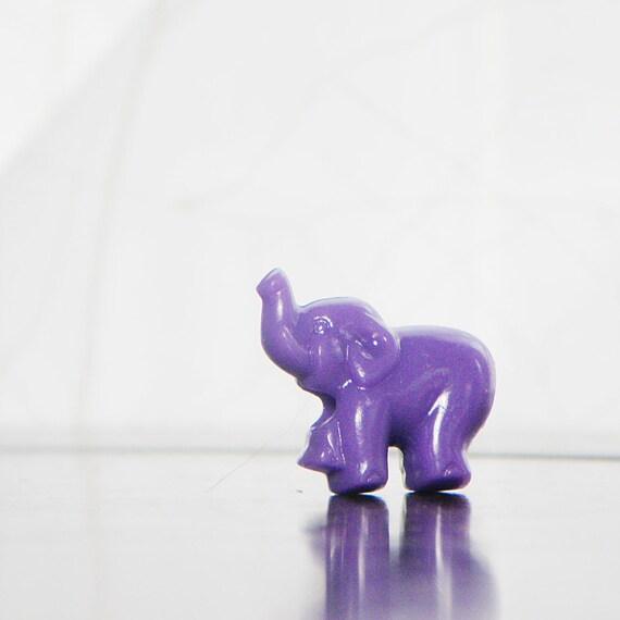 6 Purple 3D Elephant beads