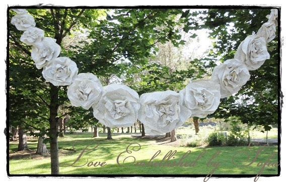 Shabby Chic Paper Flowers Rose Garland SWAG from Vintage Book Pages Romantic Decor Weddings Cream  6 ft  with 18 Roses