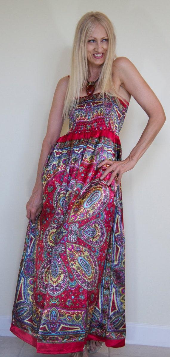 Reserved Vintage Romantic Gypsy Hippie Bohemian Stevie Nicks Antique Silk Satin Scarves Smocked Bodice Maxi Dress