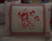 FrenCH ReD CaBBaGe  RoSeS & TiCKiNG  CoTTaGe SHaBBy Chic PiLLoW