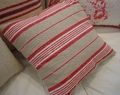 Cottage/CoasTaL BeaChy/French Red Pillow/STrIPe/Cottage/Shabby Chic/Cotton Accent Pillow/Decorative Pillow
