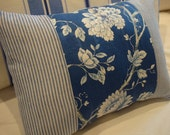 French Chintz Pillow/Blue White/Blue Ticking/Stripe/ Cottage/Shabby Chic/Nursery/Bedroom/Decorative Pillow/Throw Pillow/Beach Decor