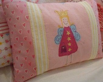 Girls French Cottage/SHaBBy CHiC/Girls Pink Fairy Pillow/CoTTage/Nursery/Bedroom/Decorative Crib Pillow/Throw Pillow